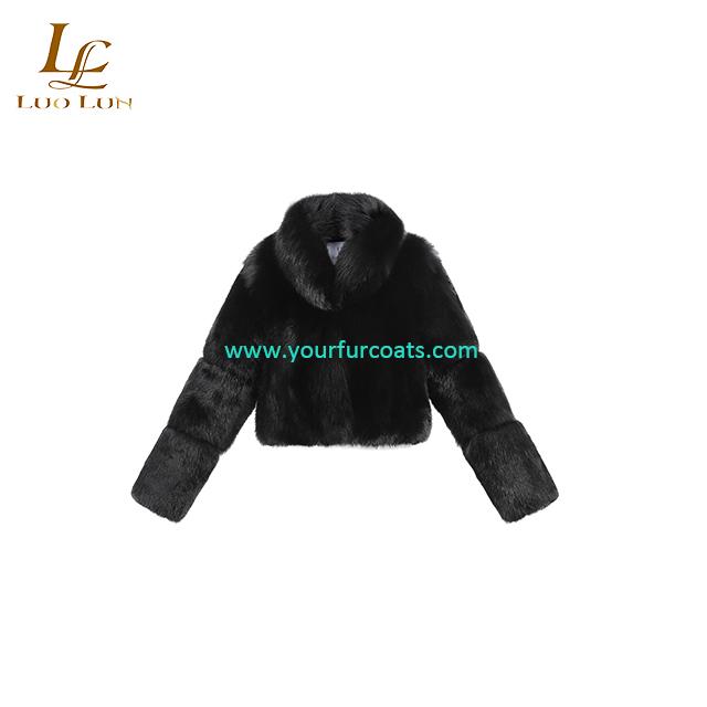 Women's Winter Warm Real fox fur Coat female overcoat big fox fur collar Real fur coat