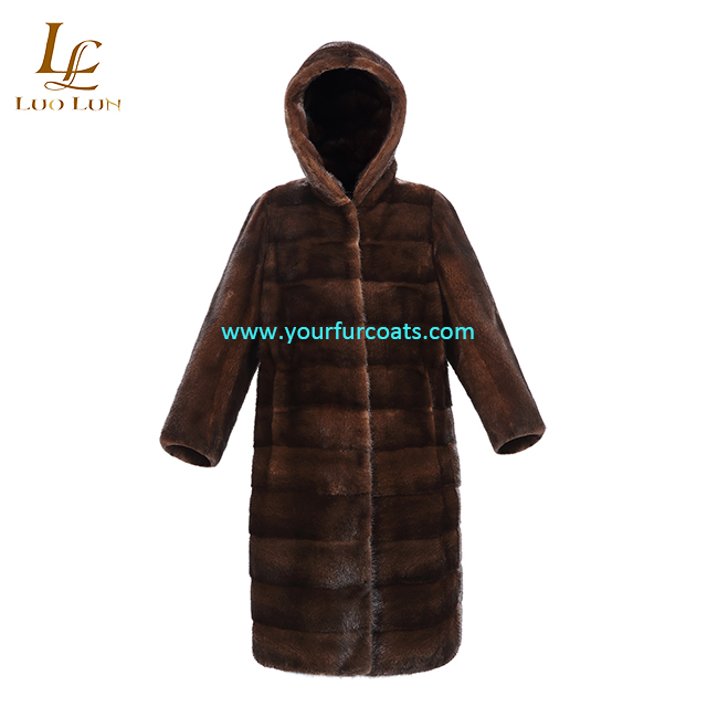 High Quality Winter Real Mink Fur Coat For Women  European brown mink fur with hood  Style Thick Fur  Jacket Long Winter Genuine Fur Stand Collar Coat Real Mink Fur Coats Women