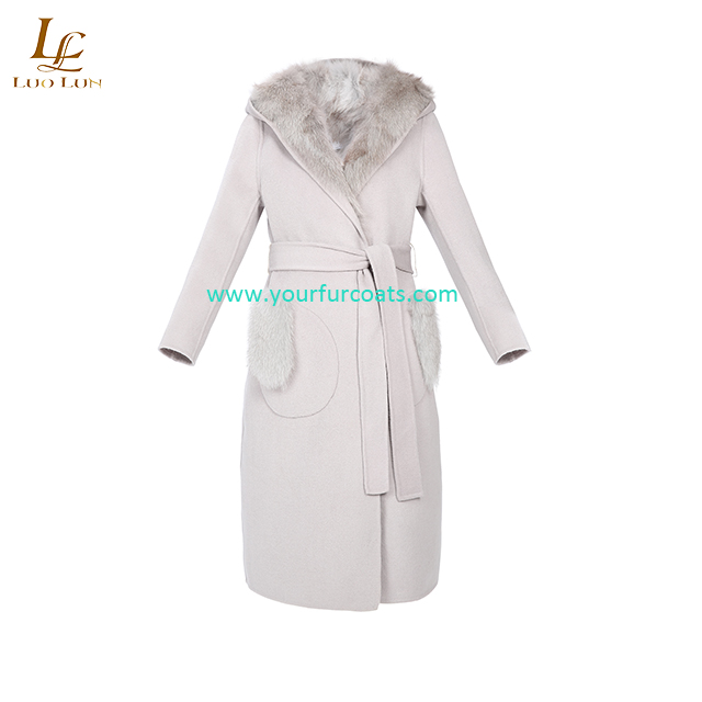 Cashmere Coat Woman Autumn Winter Thick Warm Wool Coat High Grade Real Fox Fur Collar Oversize Thickened Woolen Trench