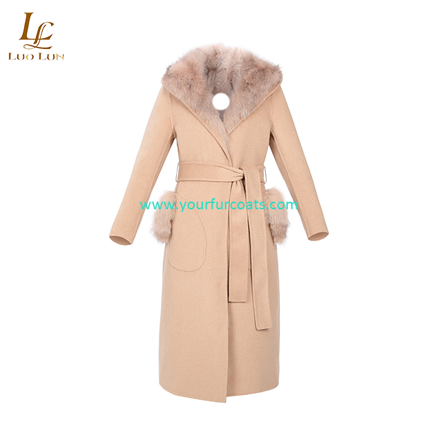 Casual fashion Winter new Style Women's Clothing thickening plus cotton wool coat Fur collar waistband Woolen long solid Jackets