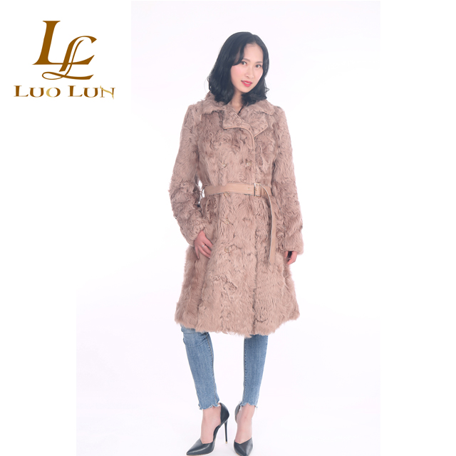 Sheepskin Lamb Hand Knit Fur Coat
