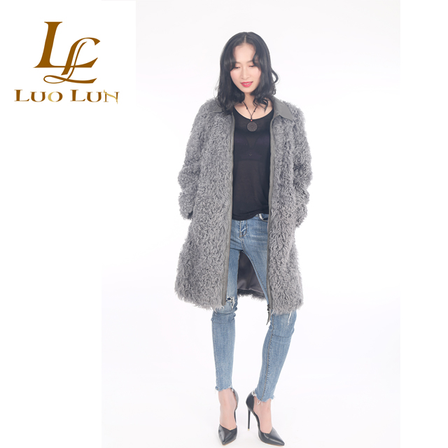 Knit Real Curly Sheepskin Lamb Hand Knit Fur Coat Popular New Design Handmade Sheepskin Fur women fur coats