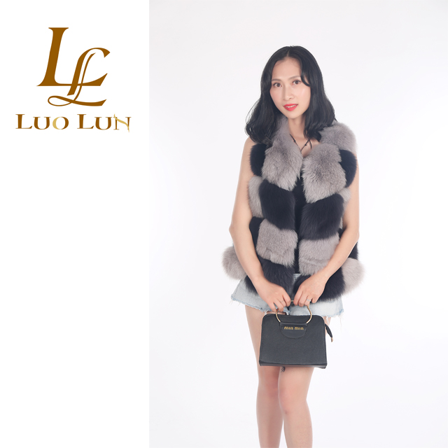 New design soft brown furry coats for women High Quality Short Style Fox Fur Coat