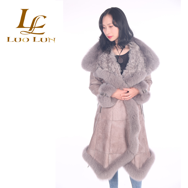 Winter Women Fashion Lamb Skin Fur Coats Double Face Sheepskin Fur Jacket