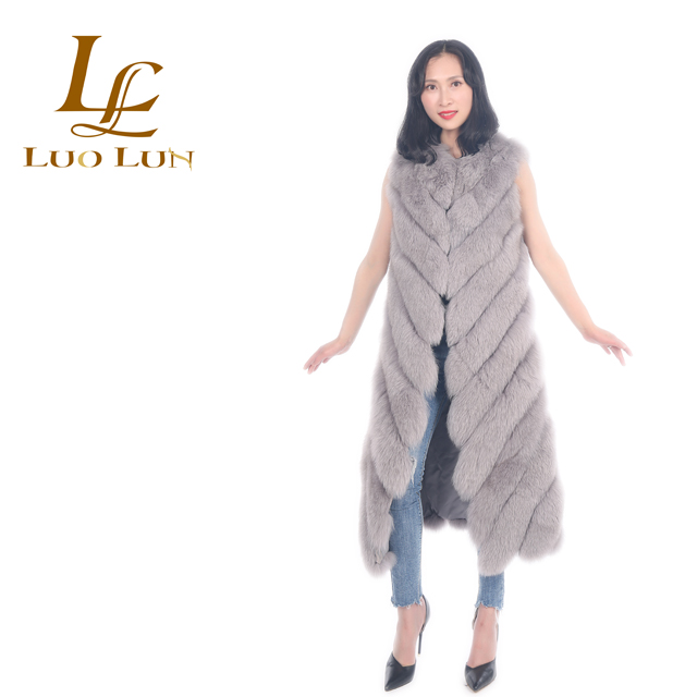 New Arrival Fashion warm vest real natural sleeveless long coat western style fluffy fitted fox fur vest