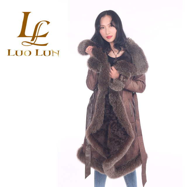 Hot Sale Long Style Best Quality  fox Fur Leather Women Sheepskin Coat
