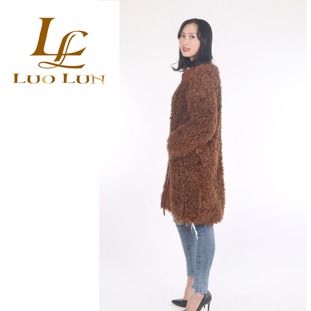 Long Style Knit Real Curly Sheepskin Lamb Hand Knit Fur Coat/ Lamb Fur Coat Women