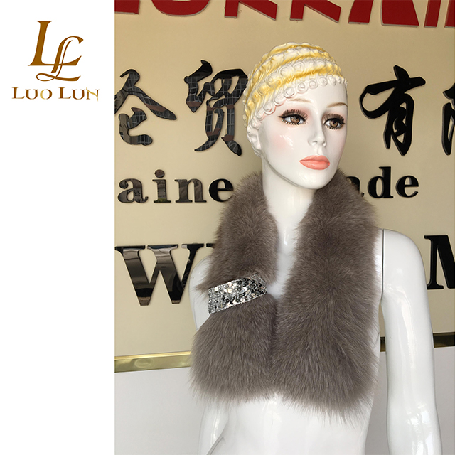 Top Quality Customized Color Real Fox Fur Collar For Garment