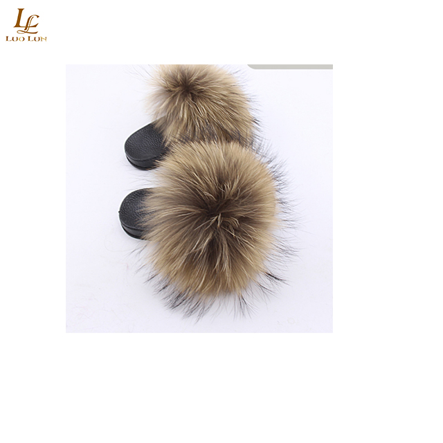 Fox Fur Slides Big Size 2018 Open Toe Fluffy Real Hair Low Platform Slippers Slip On Flip Flops Furry Women F Shoes