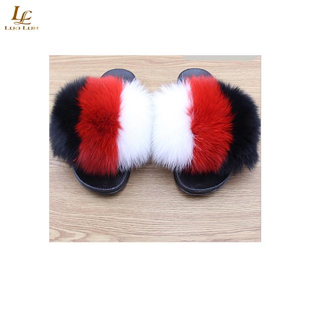 d6ed0214656bf Fox Hair Slippers Women Fur Home Fluffy Sliders Plush Furry Summer ...