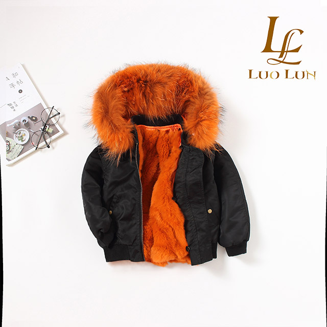 Children animal fur lined parka and hood big collar can be removed overcoat