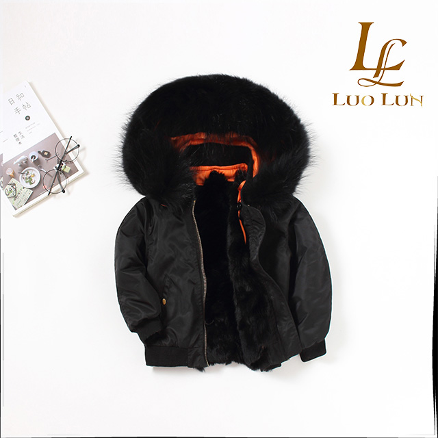High quality chidren real fur parka winter outwear