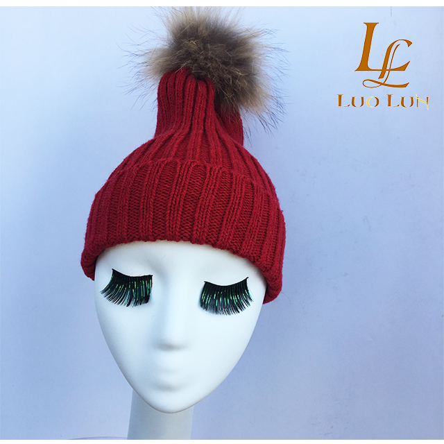 f49d02521ce Big Real Raccoon Fur pompom wool winter hats woman winter raccoon ...