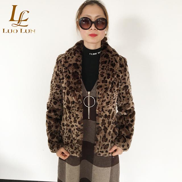 Good Quality Luxury Faux Fur Coat for Women Coat Winter Warm Fashion Leopard Artificial Fur Women's Coats