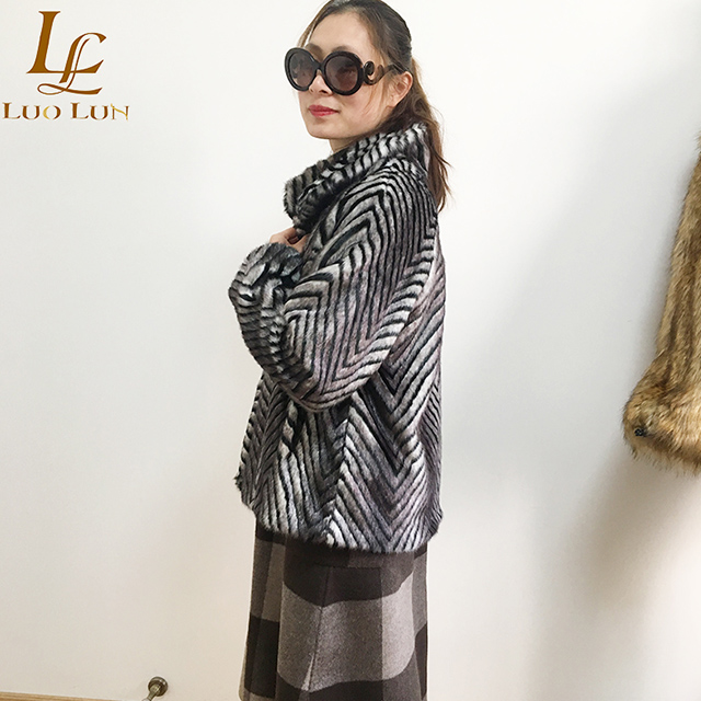 Popular warm Zebra Stripe artificial fur for women overcoats