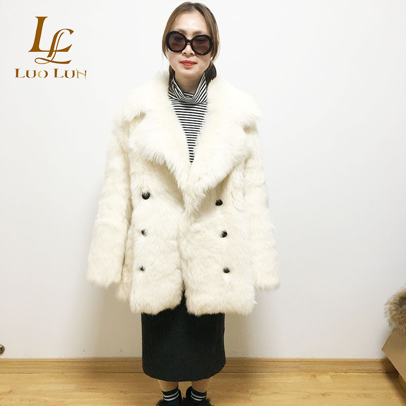 Sweet GIRL Elegant women Lamb Wool Long Sheep Shearing Fur Coat